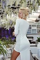 """Облегающее комбинированное макси-платье """"Волна"""" с разрезом и длинным рукавом, фото 2"""