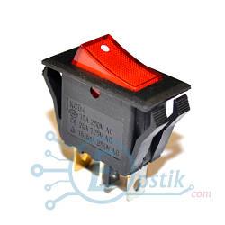 Переключатель 15A 250V с подсветкой, 3pin, (KCD4)