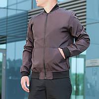 Бомбер мужской коричневый стильный демисезонный