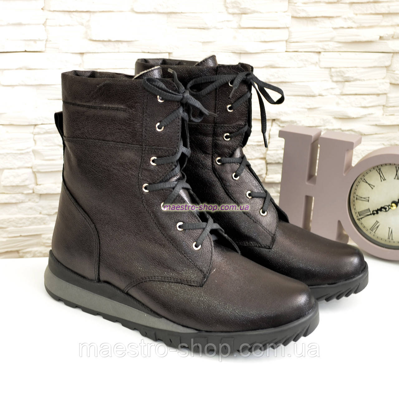 Ботинки мужские на шнуровке из натуральной кожи флотар, от производителя
