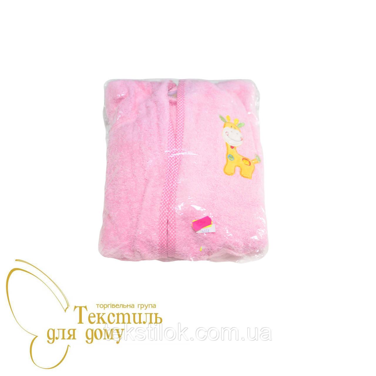 Халат детский махровый с апликацией, розовый