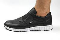 Кроссовки мужские Gross на липучке кожаные черные Gr0017