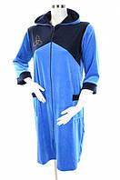 Халат женский велюровый синий с капюшоном