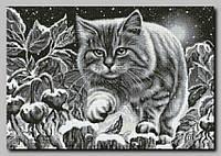 Схема полной вышивки бисером Ночной кот