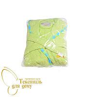 Халат детский махровый с апликацией, зеленый
