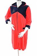 Халат женский велюровый с капюшоном и карманами красный