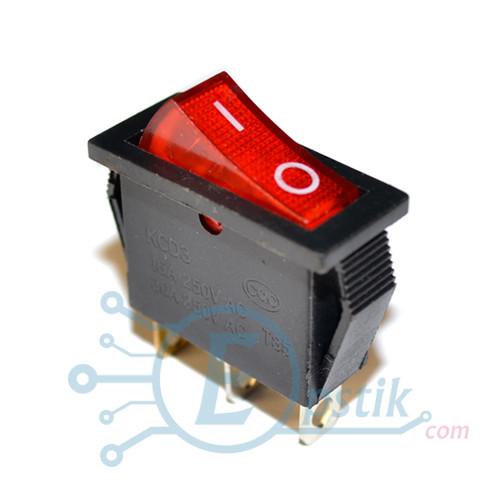 Переключатель 16A 250V с подсветкой, 3pin, (KCD3-103)