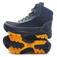 Ботинки подростковые Ecco зимние кожа нубук черные синие Uk0084 0afd062f3749b