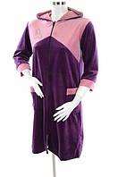 Халат женский велюровый с капюшоном и карманами баклажан