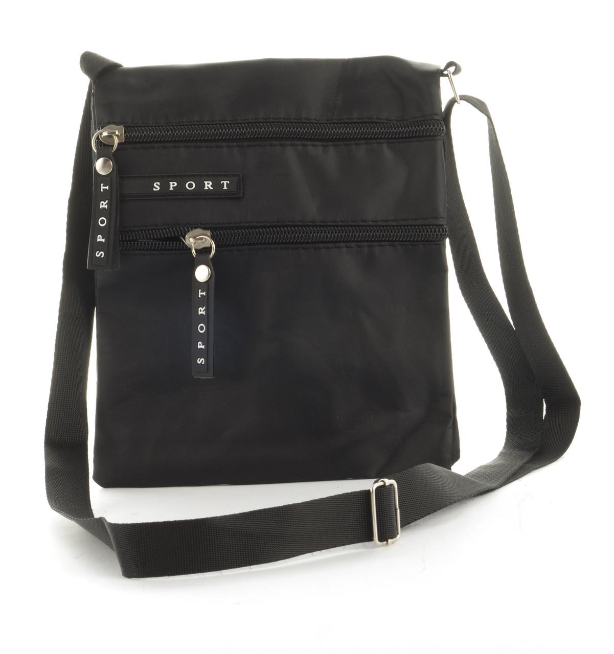 Удобная тонкая наплечная мужская сумка с очень прочного материала почтальонка  art. Sp695 (103262) черная