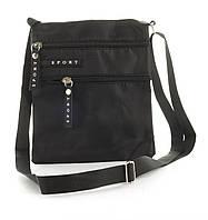 Удобная тонкая наплечная мужская сумка с очень прочного материала почтальонка  art. Sp695 (103262) черная, фото 1