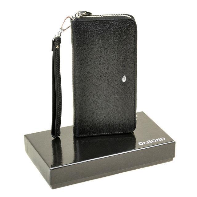 Широкий чоловічий гаманець на блискавці Dr.Bond чорний Клатч