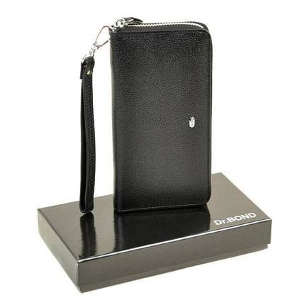 Широкий чоловічий гаманець на блискавці Dr.Bond чорний Клатч, фото 2