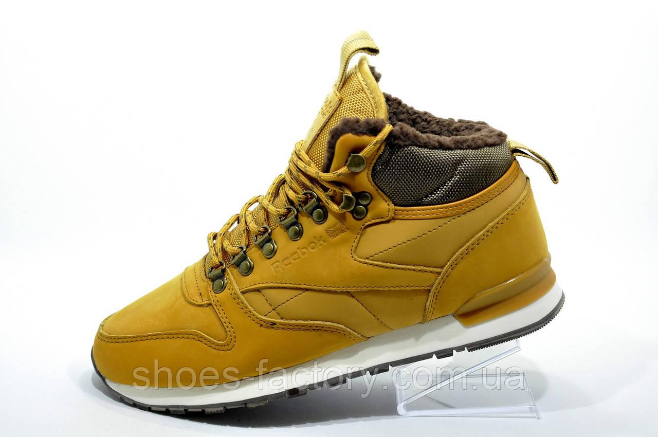 Зимние Кроссовки в стиле Reebok Classic Leather, Yellow\Желтый