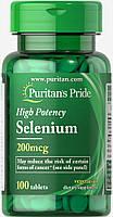 Селен, Selenium, Puritan's Pride, 200 мкг, 100 таблеток., фото 1
