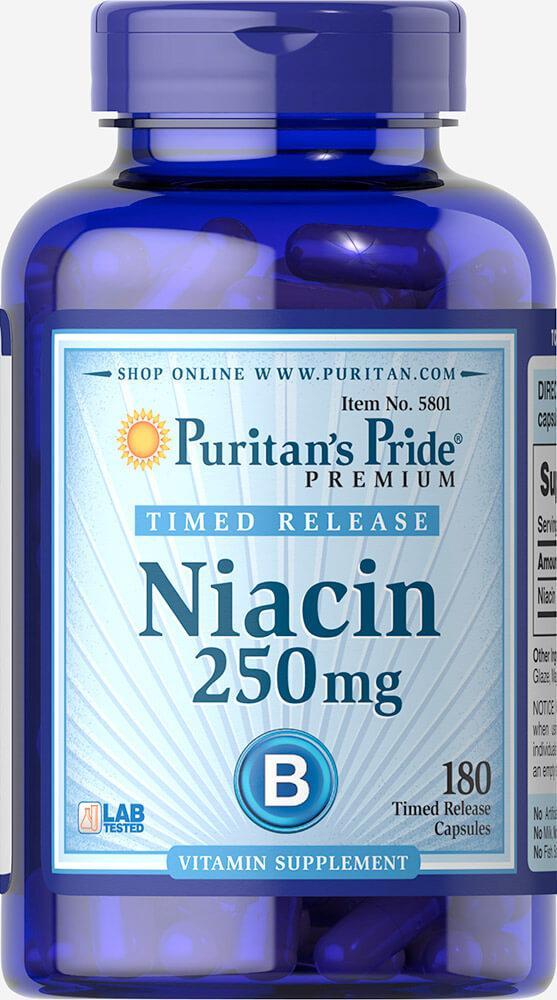 Bитамин Б3  Ниацин Vitamin B3 - Niacin Puritan's Pride Bитамин В3  250 мг (100таб.)