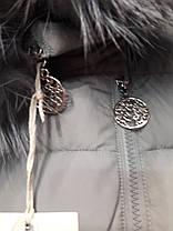 "Женский пуховик ""button""96-896  серый, фото 3"