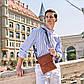 Мужская сумка мессенджер, барсетка через плечо V8807 коричневая, фото 8