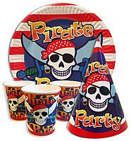 Набор одноразовой посуды для детского праздника  Пираты 10 тарелок , 10 стаканчиков , 10 колпачков