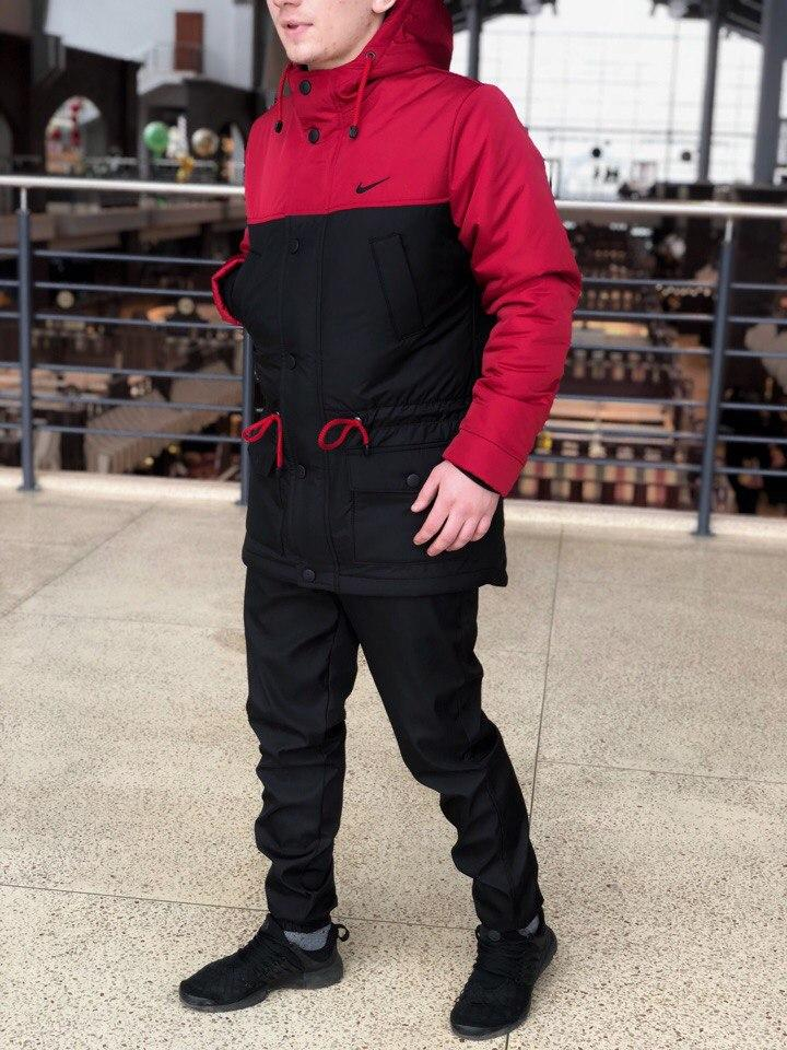 Курточка Парка Nike Cupe, мужская осеняя/весеняя, цвет черно-красный, фото 1