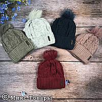 Женская шапка с флисом и бубоном (32001-2)