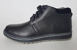 Кожаные мужские  зимнее классические  ботинки чёрного цвета фирмы Maxus