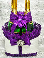 Корзинка для оформления свадебного шампанского Роскошь (фиолетовая)