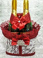 Корзинка для оформления свадебного шампанского Роскошь (марсала)