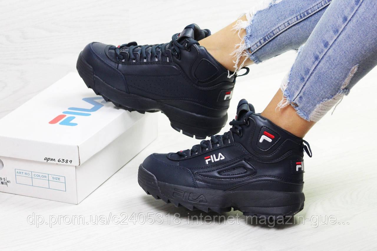 Популярные зимние высокие женские кроссовки Fila (реплика) темно-синие  теплые с мехом - 17c75f9a0f4