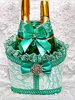 Корзинка для оформления свадебного шампанского Роскошь. Цвет мятный.