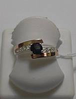 Кольцо серебряное с золотом и цирконием Лилас, фото 1