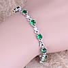 Женский серебряный браслет зеленый изумруд, топаз