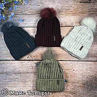 Женская шапка с флисовой подкладкой+ бубон из меха (32007-1)