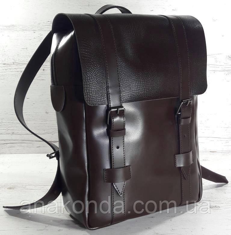 452 Натуральная кожа, Рюкзак городской для ноутбука 17 на кожаных ремнях/мужской/унисекс/дорожный, коричневый