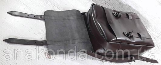 452 Натуральная кожа, Рюкзак городской для ноутбука 17 на кожаных ремнях/мужской/унисекс/дорожный, коричневый , фото 3