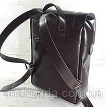 452 Натуральная кожа, Рюкзак городской для ноутбука 17 на кожаных ремнях/мужской/унисекс/дорожный, коричневый , фото 2