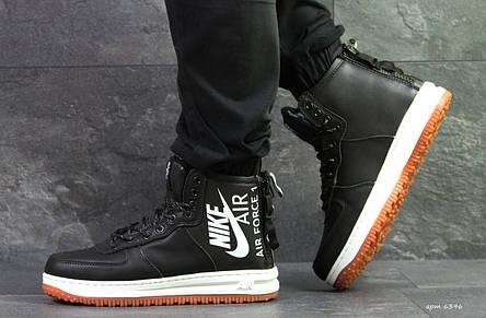 e446c73d Высокие мужские кроссовки Nike Air Force,черно-белые,на меху., фото