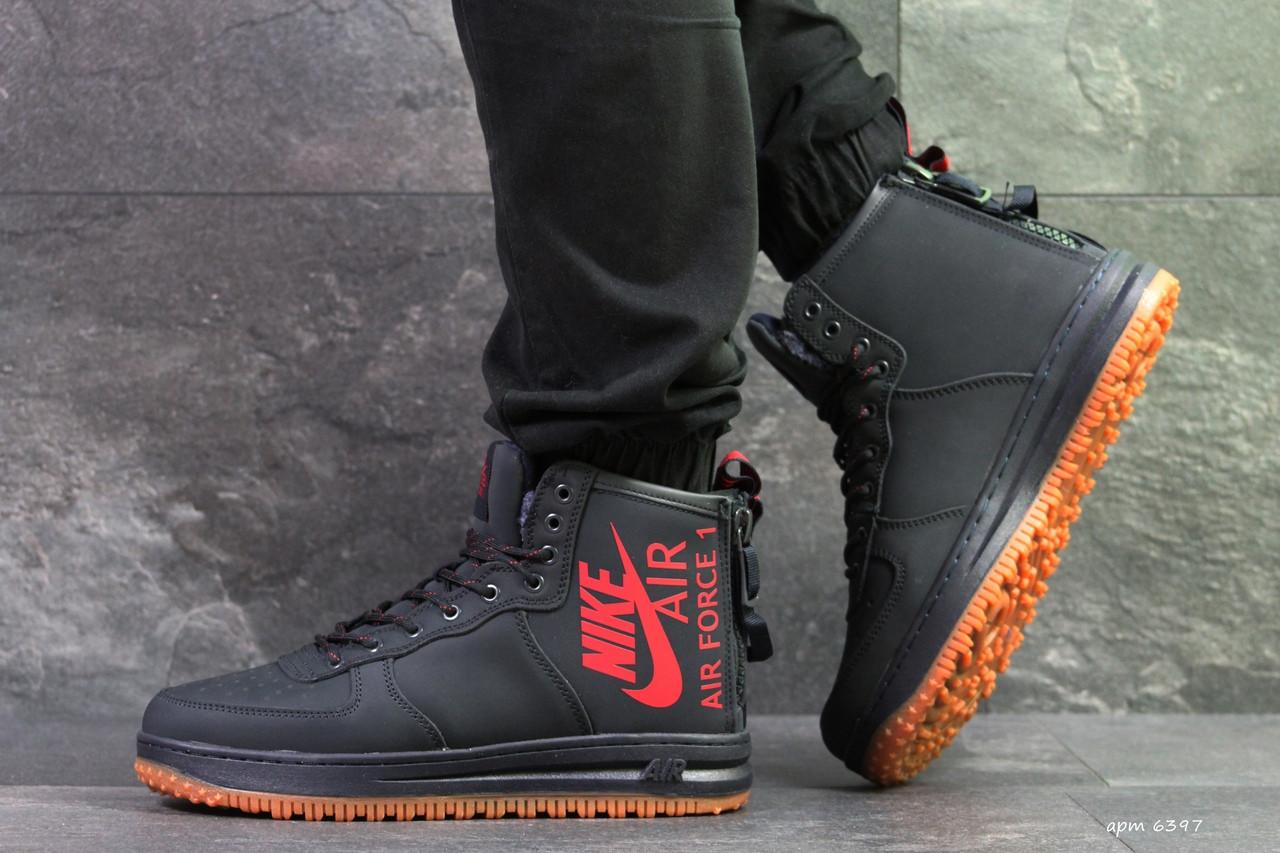 Высокие мужские кроссовки Nike Air Force,темно синие,на меху.