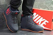 Высокие мужские кроссовки Nike Air Force,темно синие,на меху., фото 3