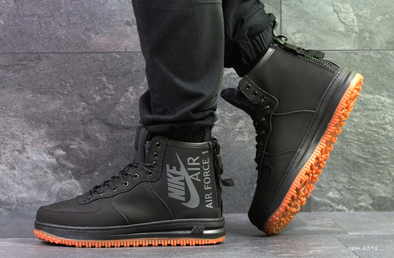 Высокие мужские кроссовки Nike Air Force,черные,на меху.