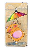 Чехол для Nokia Lumia 1320 (Котик с зонтиком)