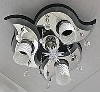 """Люстра потолочная """"Космос"""" с цветной LED подсветкой и автоматическим отключением с пультом (20х44х44 см.) Черный, хром YR-5521/3+1"""