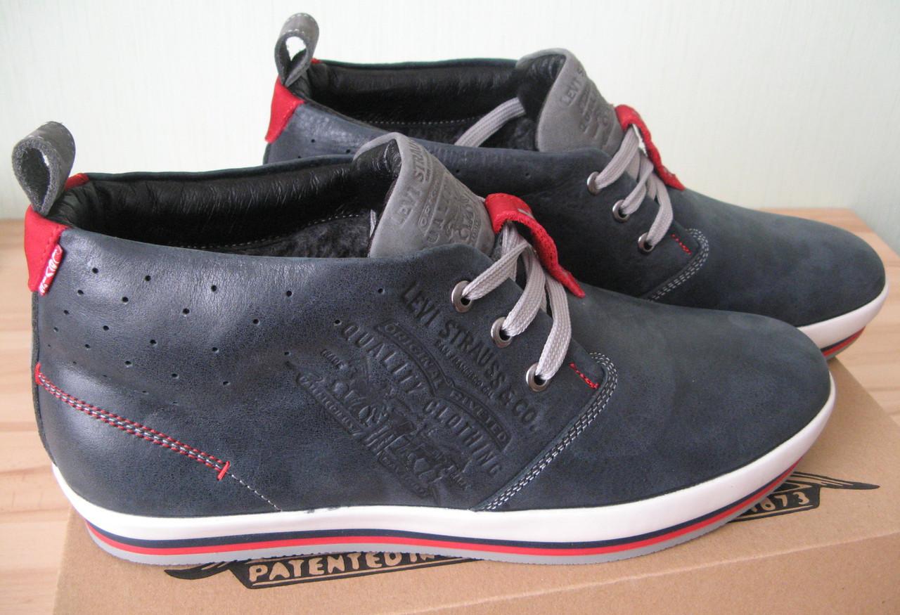 Стильні зимові шкіряні чоловічі черевики в стилі Levis натуральная шкіра  кросівки на шнуровці Левіс копія 0f046a830b1c7