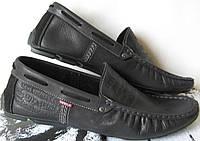 Levi's демисезонные Стильные мужские черные кожаные мокасины туфли весна осень Турция Левис реплика