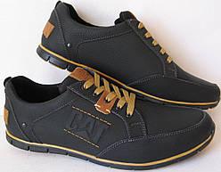 7629aa50019f7d Демісезонні чорні чоловічі шкіряні кеди CAT (Caterpillаr) репліка кросівки весна  осінь на шнурках