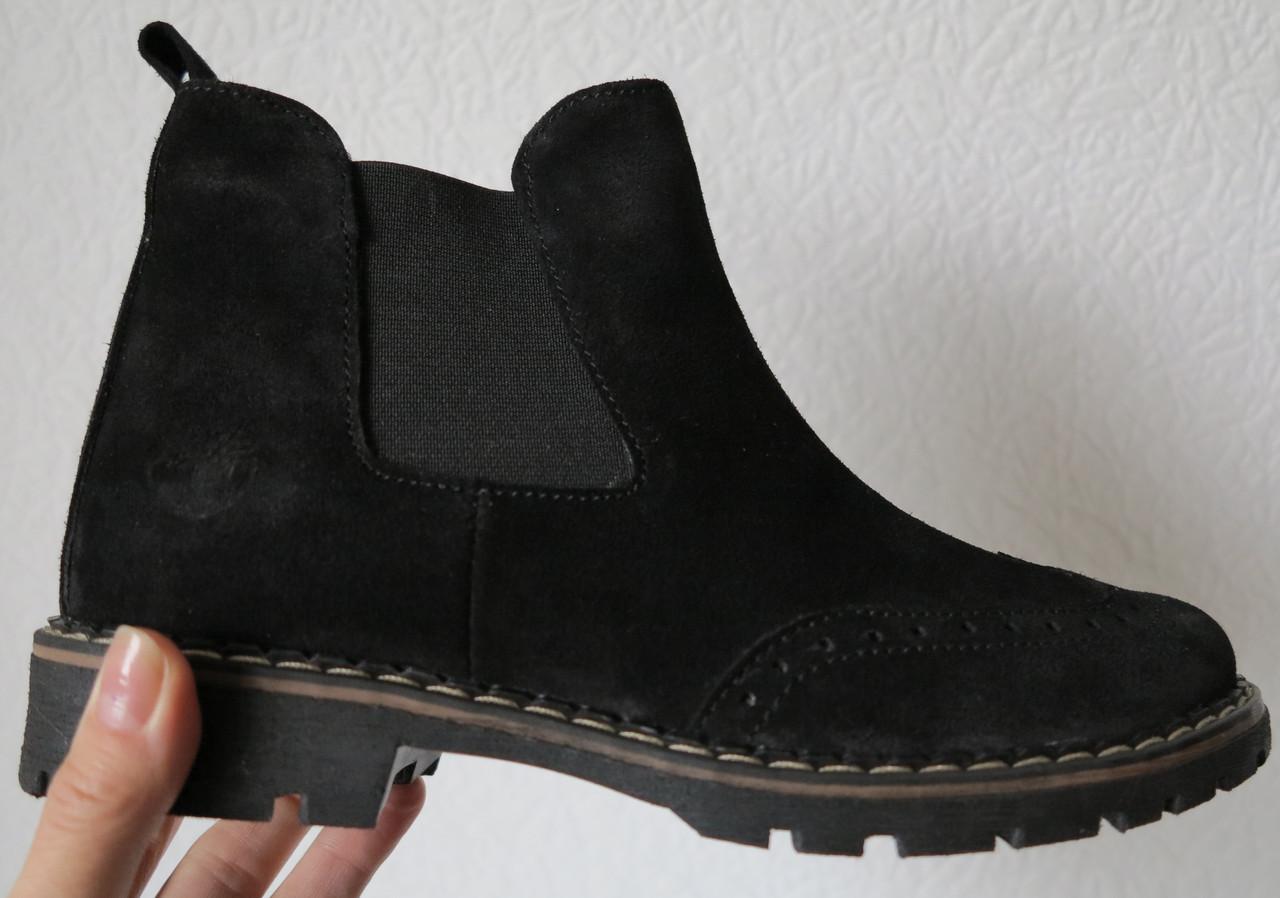 a48bcba078e044 Жіночі чорні черевики з натуральної замші в стилі Timberland, репліка,  демісезон осінь весна