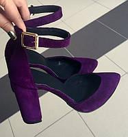 Mante! Красиві шкіряні замшеві жіночі босоніжки на підборах 10 см весна літо фіолетові натуральна замша туфлі