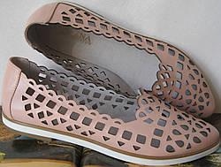 Versace жіночі шкіряні рожеві еспадрільї перфорація балетки туфлі шкіра  пудра репліка 141fdca4f4e89