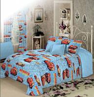 Постель в детскую кроватку ТАЧКА МАКВИН, цвет синий / Комплект постельного белья. Ткань Бязь / Коттон