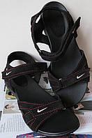 Жіночі шкіряні спортивні чорні босоніжки сандалі Найк спорт літо без каблука 573d36d3d0020